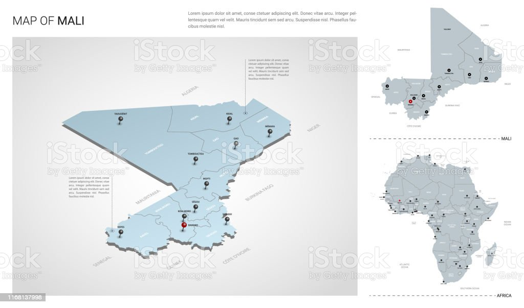 Africa Map Mali.Vector Set Of Mali Country Isometric 3d Map Mali Map Africa