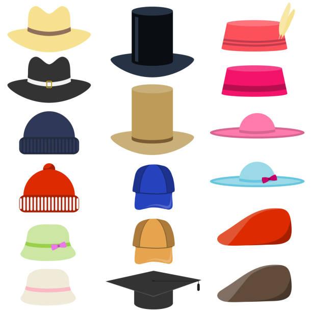 남자와 여 자가 모자의 벡터 집합입니다. 남자와 여 자가 모자 평면 벡터 집합입니다. 세련 된 남성 및 여성 모자입니다. 모자 세트 흰색 바탕에 격리 합니다. - horse racing stock illustrations