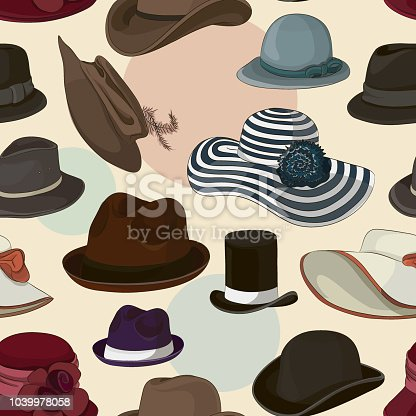 Vector set of man and woman hats pattern. Vector illustration, EPS 10