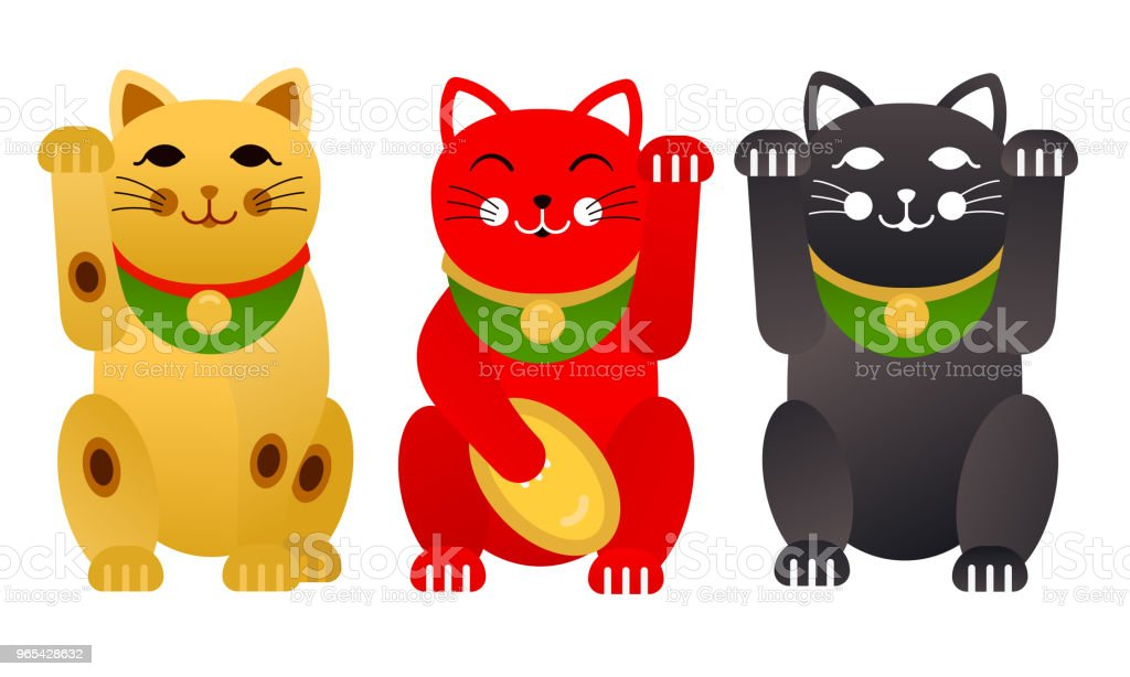 Vector set of Maneki Neko cats on white background Illustration vector set of maneki neko cats on white background illustration - stockowe grafiki wektorowe i więcej obrazów azja royalty-free