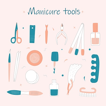 Vector Set of manicure tools