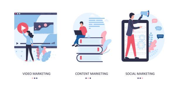 vektor-set von marketing-konzepten. video, inhalte und soziale förderung einer website, eines blogs, einer seite in sozialen netzwerken, dienstleistungen und produkten. flache illustration auf weißem hintergrund. - tablet mit displayinhalt stock-grafiken, -clipart, -cartoons und -symbole