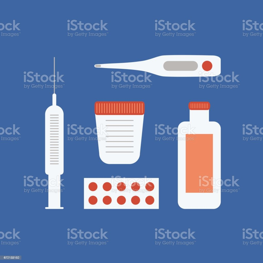 Vector set of medical devices and pharmaceuticals. Flat illustration of an electronic thermometer, container for analysis of tablets, syringe for injection vector art illustration