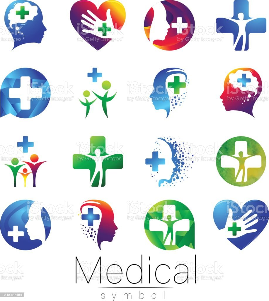 Vector Set Of Medical Sign With Cross Inside Human Profile Symbol