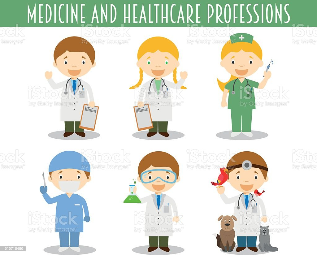 Vector Set of Medicine and Healthcare Professions in cartoon sty vector art illustration