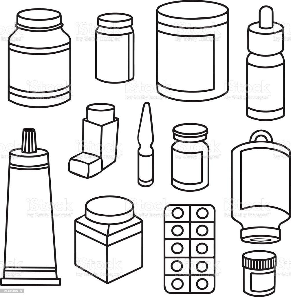 vector set of medicine vector art illustration