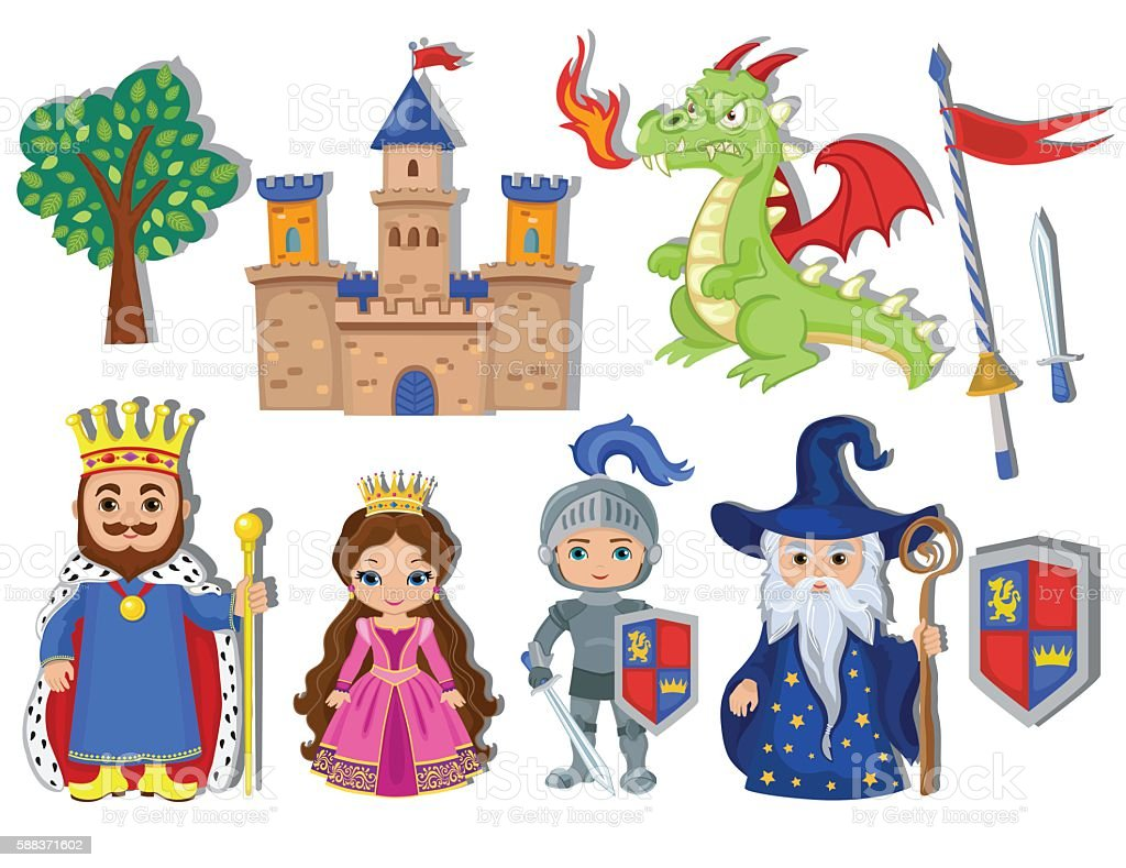 Vector set of medieval fairy tale element icons. vector art illustration