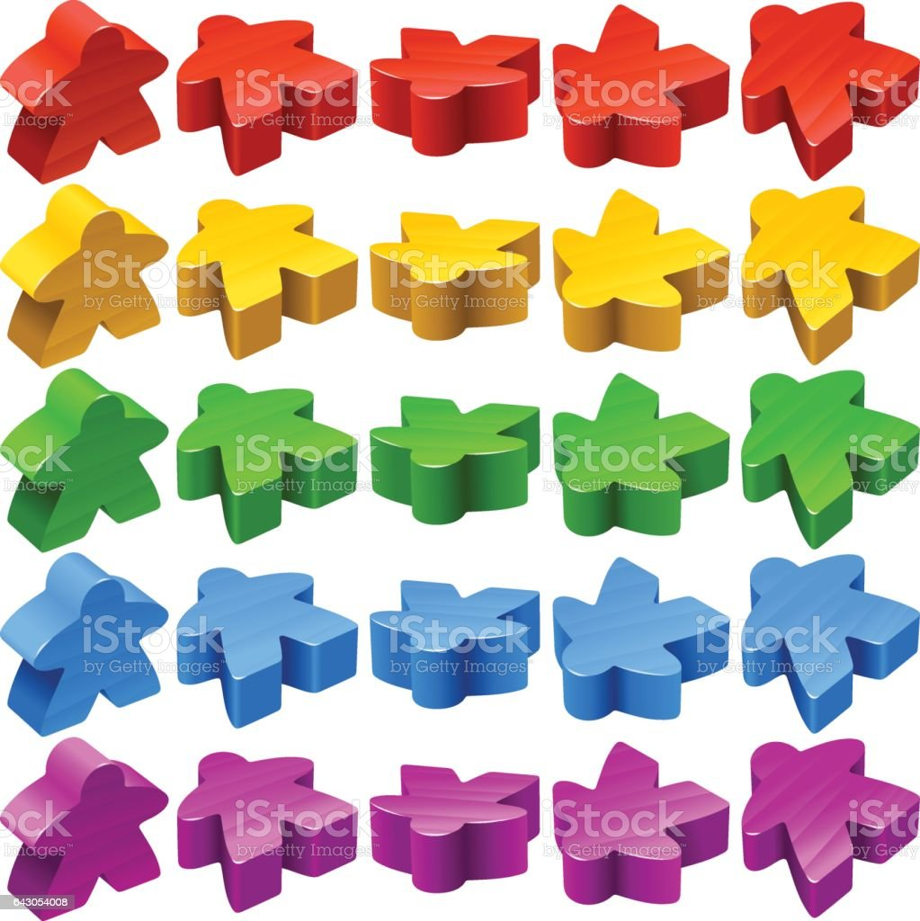 Vector set of meeples for board games vector art illustration