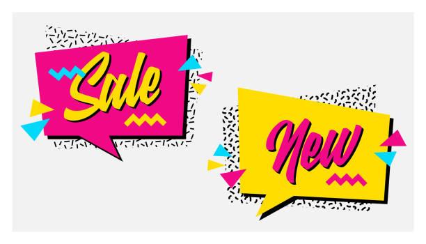 illustrazioni stock, clip art, cartoni animati e icone di tendenza di vector set of memphis style banners with new arrival and epic sale labels. - xx° secolo
