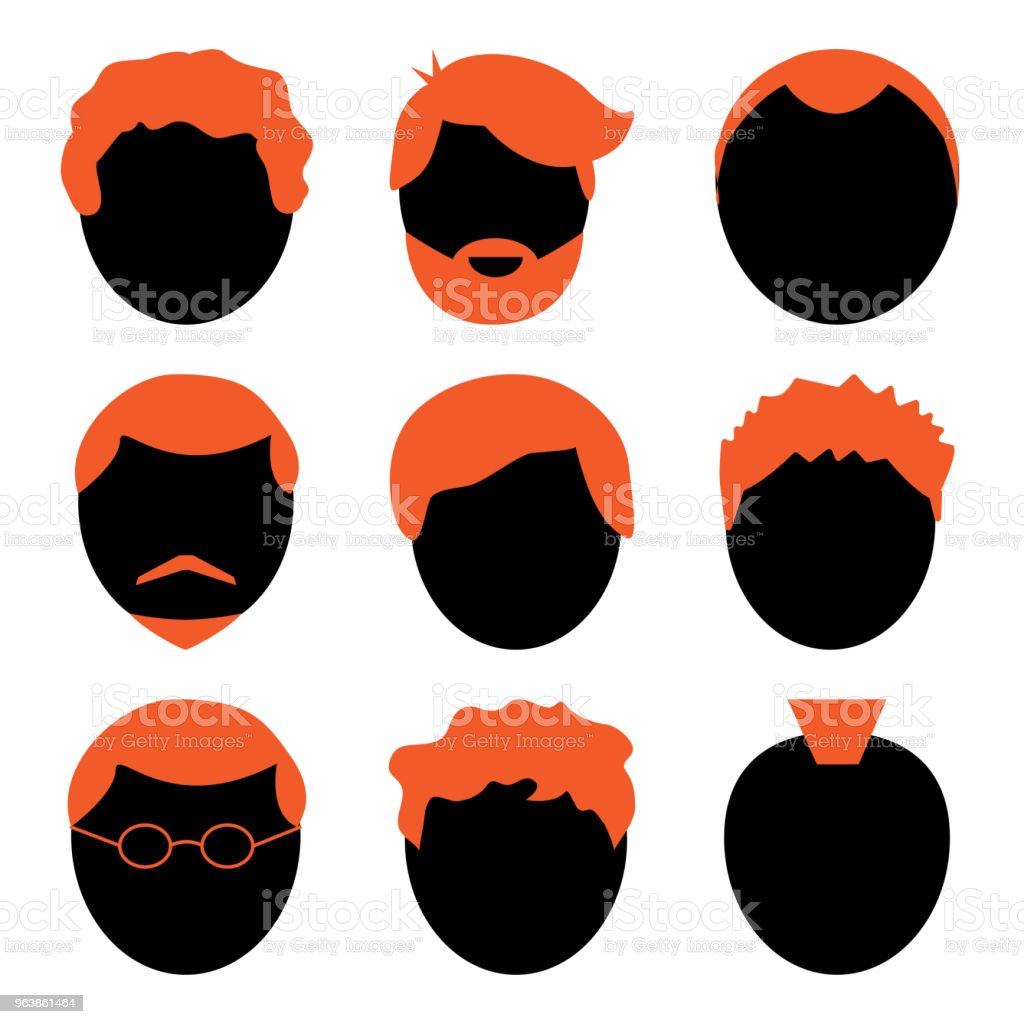 Vector set of men, avatar, black and orange silhouette - Royalty-free Adult stock vector