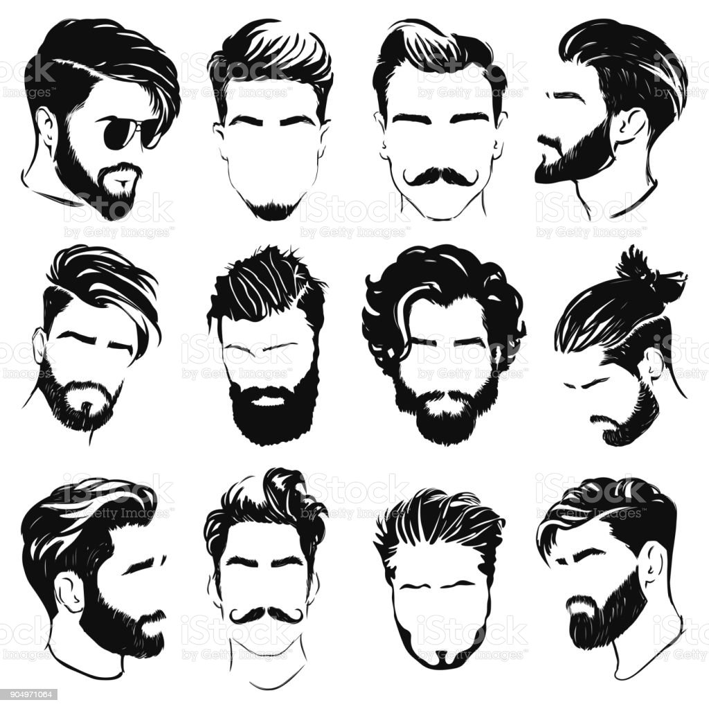 vector set of men hairstyle silhouettes vector art illustration