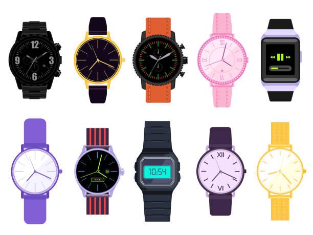 bildbanksillustrationer, clip art samt tecknat material och ikoner med vector uppsättning av mäns och kvinnors klockor - armbandsur