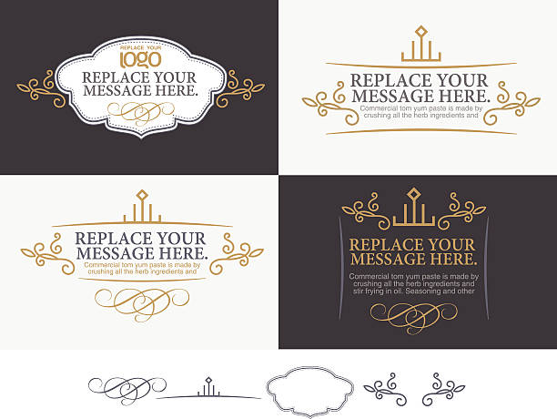 Vector set of message labels in black, white & gold vector set: calligraphic design elements and page decoration formalwear stock illustrations