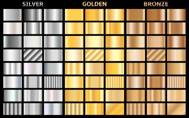 Vektor-Set von metallischen Gradienten. Sammlung von Gold-, Silber- und Bronzemedaillen Hintergründe. – Vektorgrafik