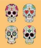 Vector set of Mexican skulls