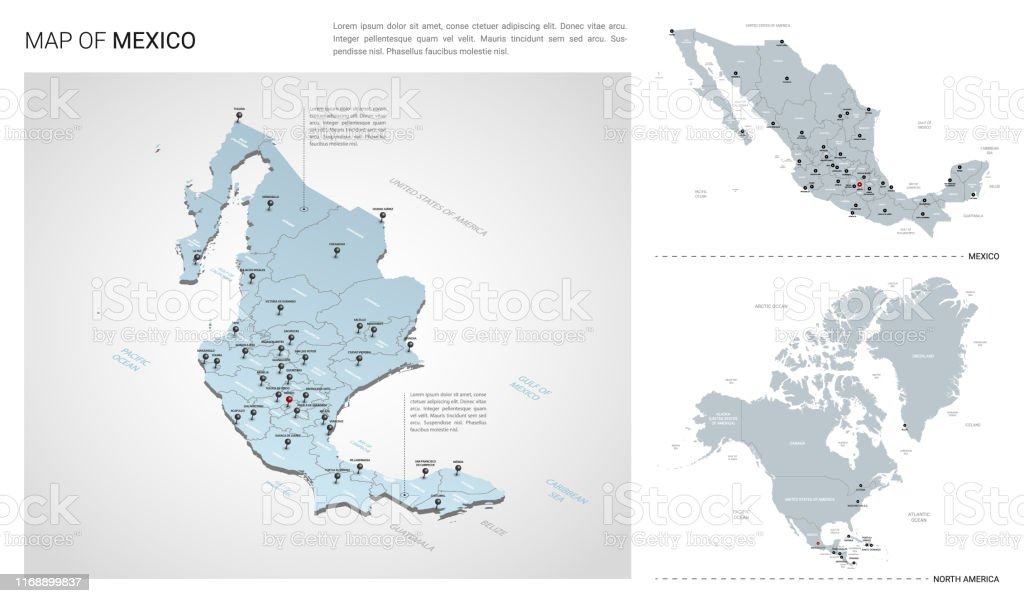 Image of: Vector Set Of Mexico Country Isometric 3d Map Mexico Map North America Map With Region State Names And City Names Stock Illustration Download Image Now Istock
