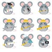 Vector set of mice various professions: Scientist, accountant, teacher, engineer, worker, builder, doctor, baker, programmer. Cute cartoon illustration