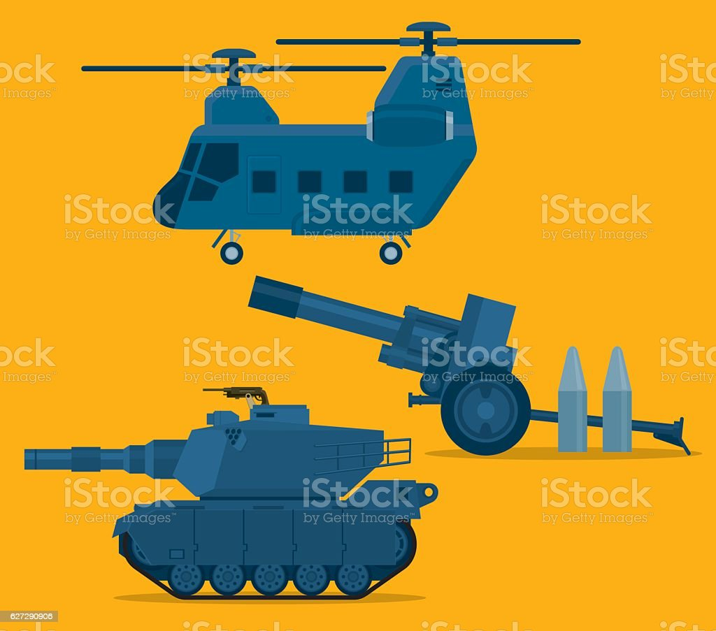 Vector set of military vector art illustration