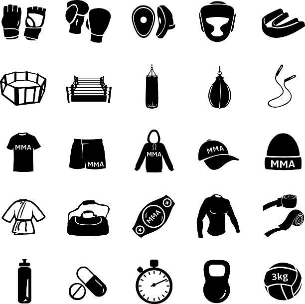 stockillustraties, clipart, cartoons en iconen met vector set of mix martial arts icons - mma