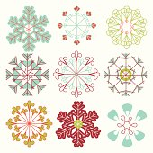 Vector Set of Mod Snowflakes.