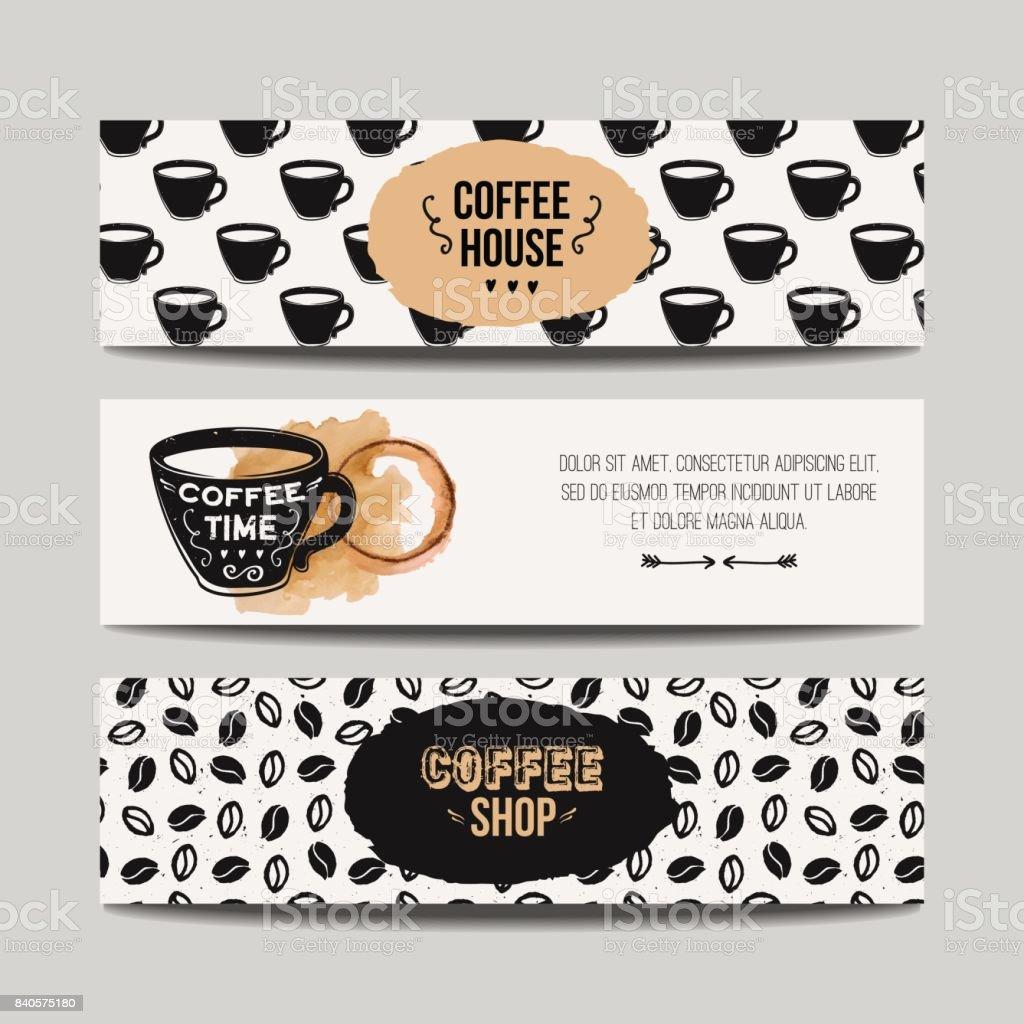 Vektor Setzen Moderne Banner Mit Kaffee Hintergründe Trendige ...