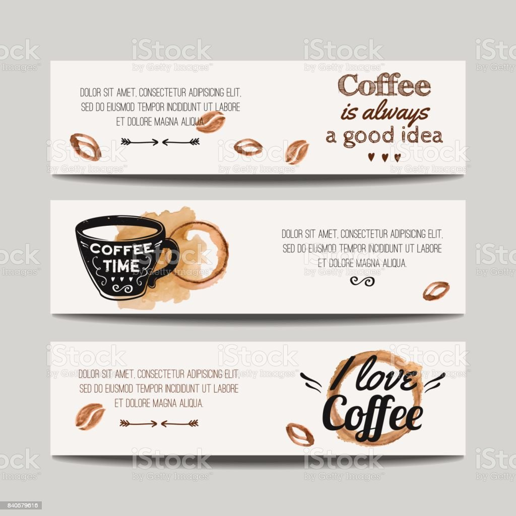 vector set of modern banners with coffee backgrounds trendy hipster