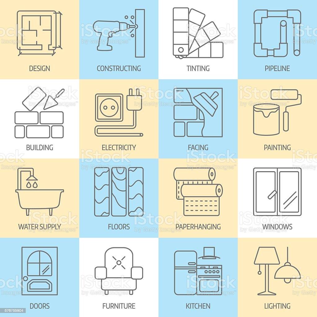 Vector set of modern flat line icons for house construction vector art illustration