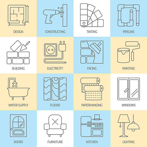 stockillustraties, clipart, cartoons en iconen met vector set of modern flat line icons for house construction - interior design