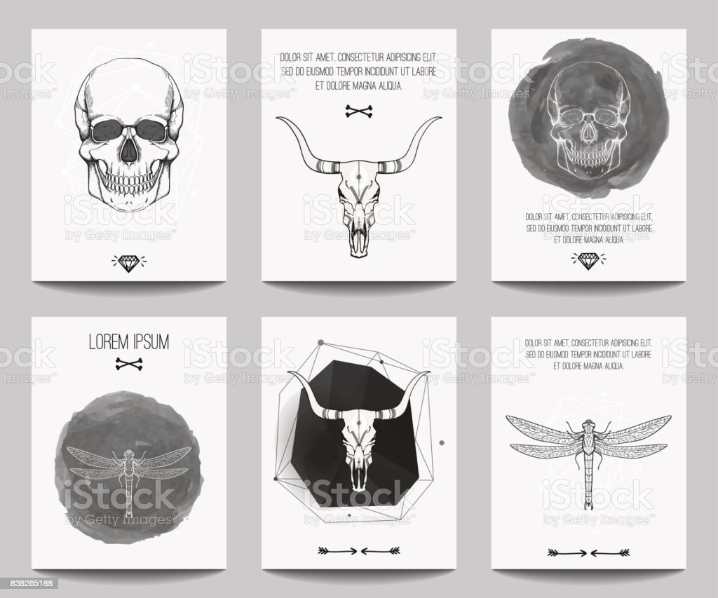 Vector Set Of Modern Gothic Posters With Human Skulls Bull