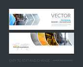 Vector set of modern horizontal website banners with colourful g