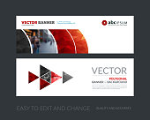 Vector set of modern horizontal website banners with red geometric shapes for industry, beauty, tech, communication. Clean web headers design with overlay effect.