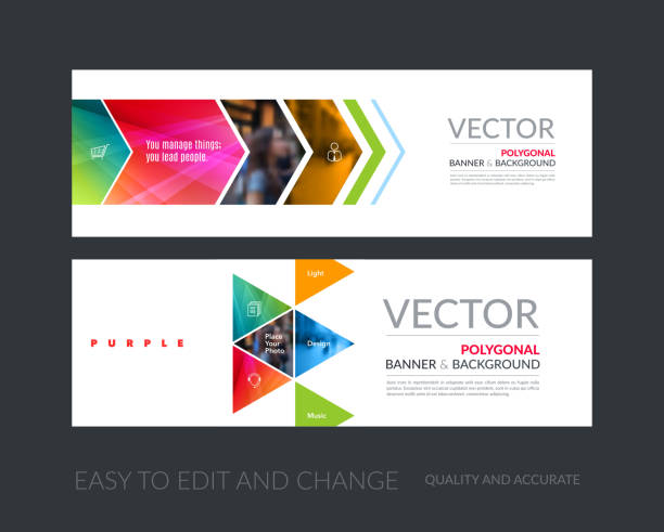Vector set of modern horizontal website banners with colourful g vector art illustration