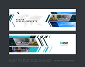 Vector set of modern horizontal website banners with rectangles
