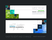 Vector set of modern horizontal website banners with rectangular