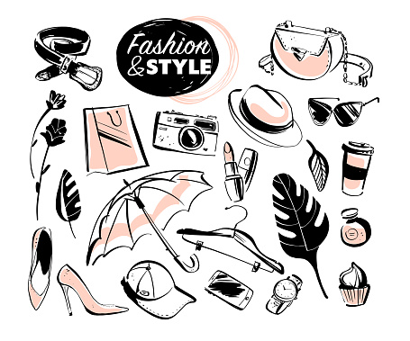 Vector set of modern lady fashion elements & accessories - shoes, glasses, cosmetics & aroma, monstera leaves, shopping bag, hat, smartphone isolated on white background.