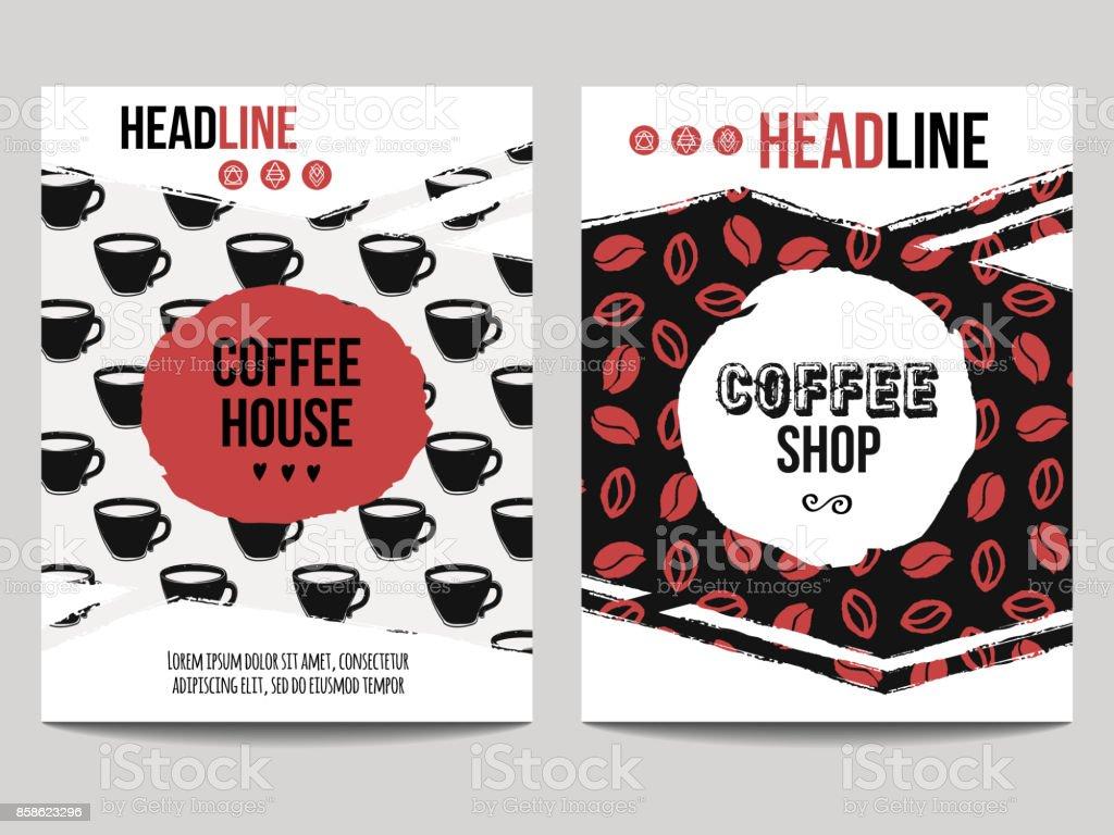 Vektor Setzen Moderne Plakate Mit Kaffee Hintergründe Trendige ...