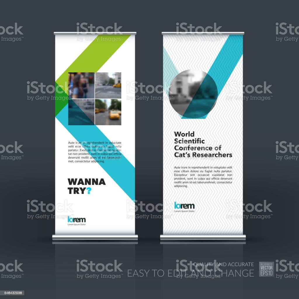 Vector set of modern Roll Up Banner Stand Design with vector art illustration