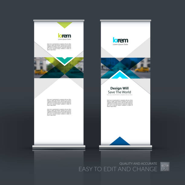 vector set of modern roll up banner stand design with - vertical stock illustrations, clip art, cartoons, & icons