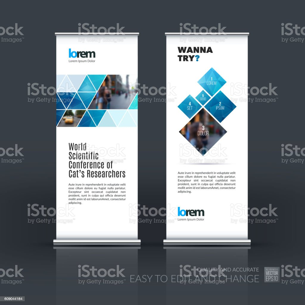 Vector set of modern roll Up Banner stand design with vector art illustration
