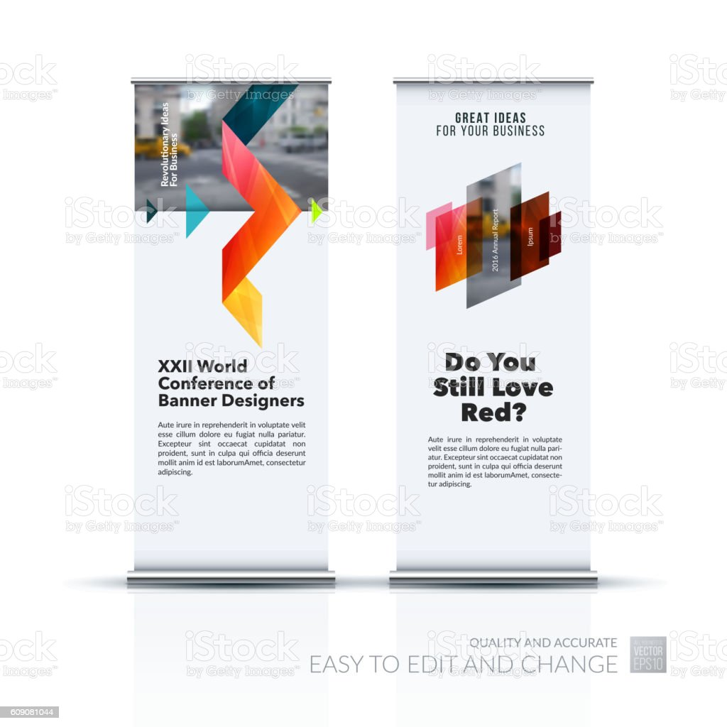 Banner Stand Designs : Vector set of modern roll up banner stand design with