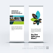 Vector set of modern roll Up Banner stand design with rectangles and diagonals for business, building, consulting. Brochure and presentation for exhibition, show, fair.