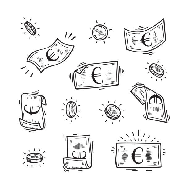 Vector Set of Money. Hand Drawn doodle Euro Banknotes and Coins Vector Set of Money. Hand Drawn doodle Euro Banknotes and Coins euro symbol stock illustrations