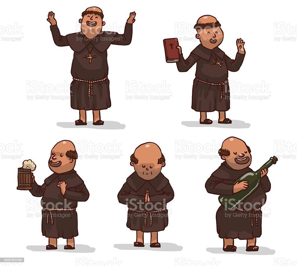 Vector conjunto de monjes en brown batas de baño. - ilustración de arte vectorial