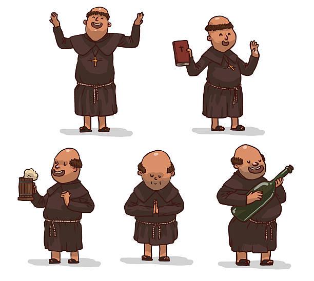 ilustraciones, imágenes clip art, dibujos animados e iconos de stock de vector conjunto de monjes en brown batas de baño. - hermano