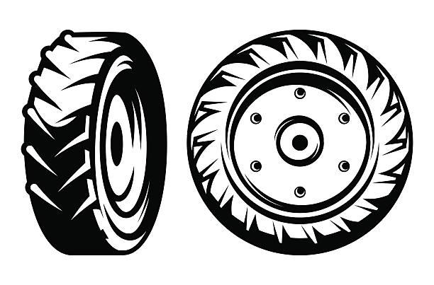 illustrazioni stock, clip art, cartoni animati e icone di tendenza di vector set di cerchi diversi tipi di trattore monocromatico - trattore