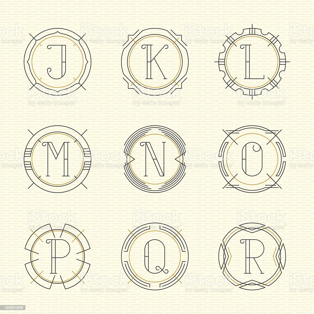 Vector set of monogram vector art illustration