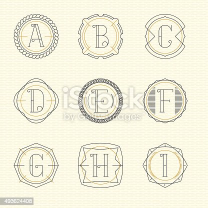 Vector set of monogram emblem templates in trendy outline style. Letters A - I.