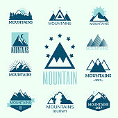 Vector set of mountain exploration vintage logos, emblems and design elements. Nature templates and badges with rock silhouette climbing outdoor activity symbols.