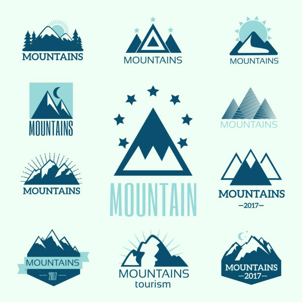 Vector set of mountain exploration vintage emblems and rock silhouette design elements vector art illustration