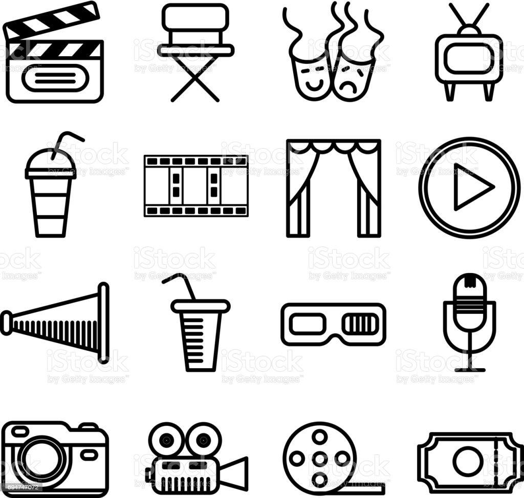 Vektor-Set Film Kino und Theater Icons isoliert auf weißem Hintergrund – Vektorgrafik